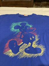 Vintage Disney Designs Mickey Mouse T Shirt Blue Size Large/X Large F8