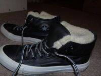 ladies leather converse all star trainers hi top winter size uk 6.5