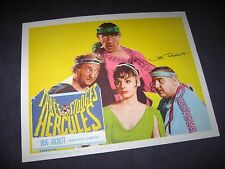 The 3 Three Stooges signed original  Meet Hercules Lobby Card VICKI TRICKETT