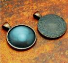"""10 QTY - 25mm 1"""" Inch ROUND ANTIQUE COPPER Circle Pendant Tray  DOME GLASS"""