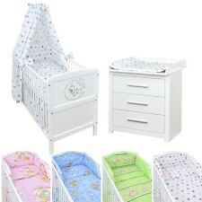 Babyzimmer Babybett Kinderbett Mond Wickelkommode Weiß Bettset komplett
