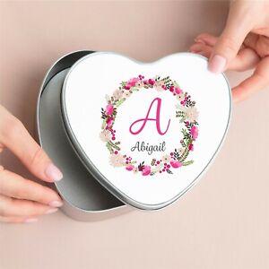 Personalised Keepsake Floral Initial Heart Metal Memory Tin Box Birthday Gift