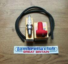 NGK B8ES Spark Plug, HT Lead & NGK Rubber LB05 Suppressor Cap - Lambretta - LCGB