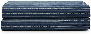 Ralph Lauren Wendell Stripe 100% Cotton Percale Flat Sheet - KING - Navy Ecru