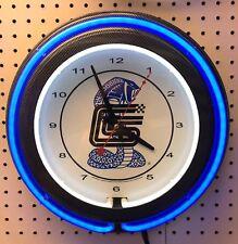"15"" Carroll Shelby Double Neon Carbon Fiber Like Clock Cobra Mustang"