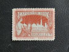 TIMBRES DE BELGIQUE : VIGNETTE ROUGE EXPOSITION 1897 BRUXELLES * AVEC CHARNIERE