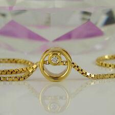 Anhänger und Kette in 585 Gelbgold 14K mit 1 Diamanten ca 0,03 ct Wesselton si