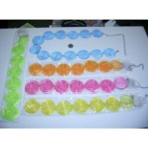 70's Costume Belt Assorted Color Plastic Swirl Discs & Metal Chain Link Belt