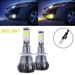 2x 880 Super Bright COB Bulbs White/Yellow Switchback LED Fog Lights Dual Color