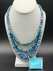 Jay King DTR Mine Finds Sterling Turquoise/Lapis 3 Strand Necklace 🔥