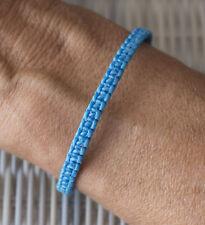 Bracelet brésilien amitié fil coton ciré tresse bleu turquoise fait main 21158