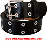 Men's Women's Leather Two Rows Silver Grommet Double Holes Black Belt All Sizes