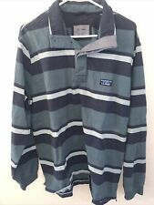 L.l. Bean Mens Lakewashed Rugby Shirt Blue Stripe Traditional Fit 100% Cotton L