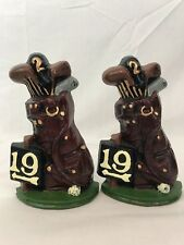 "Cast Iron 19th Hole Golf Club Bag Pair of Bookends Door Stops 7 1/4"" Excellent"