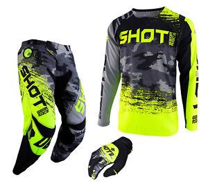 SHOT MOTOCROSS PANT & JERSEY KIT MTB BMX DOWNHILL COMBO  CAMO GREY YELLOW