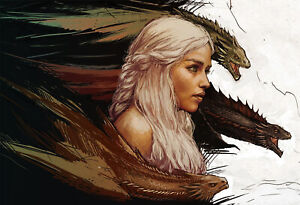 Game of Thrones Poster - Daenerys Targaryen Mother of Dragons Exclusive Art