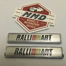 Ralliart Badge Decals x 2 Chrome Badge With Ralliart Logo TMR Evolution Lancer