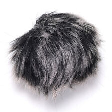 BLACK / GREY FUR WIND SHIELD FOR MICROPHONE FURRY WINDSCREEN WIND MUFF COVER