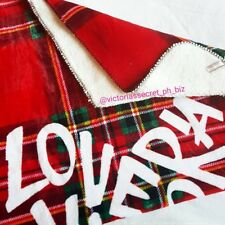 AUTHENTIC VICTORIA'S SECRET SHERPA BLANKET - RED PLAID - BNWT