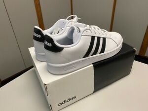ADIDAS GRAND COURT White Tennis Shoes w/ Black Stripes - Size 12 - Brand NEW!