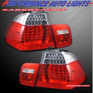 Set of Red Clear LED Taillights 4pcs for 2002-2005 BMW E46 Sedan 325i 330i