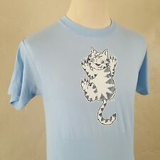 VTG 1980s ~ Soft Thin Blue T Shirt ~ ROACH ~ Cat Scratch ~ 1982 Iron On ~50/50~S