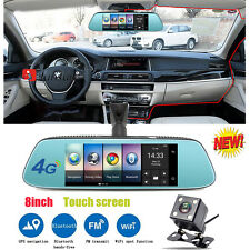 junsun 8''Dual Lens 4G+WiFi 1080P Bluetooth Car DVR GPS Rearview Mirror Dash Cam