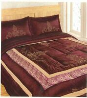 Double Bed Luxury Burgundy Floral Embroided Quilted Bedspread Set- Rhea