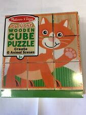 Melissa & Doug My First Animal Wooden Cube Puzzle - #3769 -New Sealed