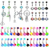 BodyJ4You 65 Belly Button Rings Dangle Barbells 14G Acrylic Stainless Steel CZ