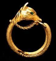 Rare Vintage Signed Castlecliff Goldtone Equine Horse Hinged Clamper Bracelet A2