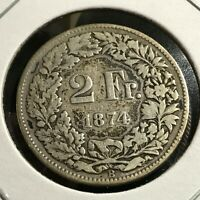 1874 SWITZERLAND 2 SILVER FRANCS BETTER DATE