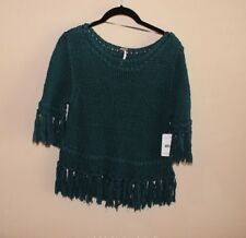 **NWT Free People 100% Cotton TURQUOISE 3/4 Sleeve SWEATER Size M Retail $108**