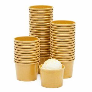 Ice Cream Sundae Cups - 50-Piece Disposable Kraft Paper Dessert Ice Cream Bowls
