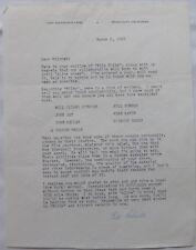 Bill Roberts signed letter, March 2, 1965/ Studio city,California