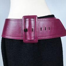 """VINTAGE✨EUC ✨YVES SAINT LAURENT Leather Corset Belt Purple Wide 39"""" 80s M"""