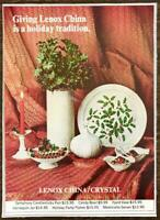 1968 Lenox China Christmas Print Ad Giving A Holiday Tradition Holly Platter Etc
