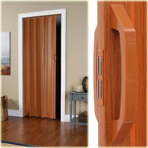 VINYL ACCORDION FOLDING SLIDE DOOR Durable Panels Closets Tight Spaces Fruitwood