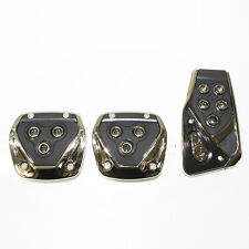 Black Chrome Car Foot Pedal Covers Pads Fits Fiat 500 Panda Uno Grande Punto