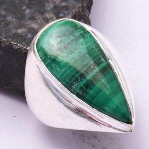 Malachite Ethnic Handmade Men's Ring Jewelry US Size-9.5 AR 42498