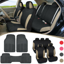 Poly Car Seat Covers with Rubber Floor Mats Complete Auto Interior Protection