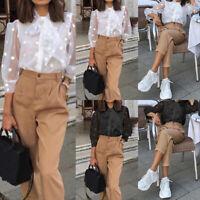 Damen Mode 3/4 Arm Blouse Hemd See Through Shirt Freizeit Lose Button Bluse Tops