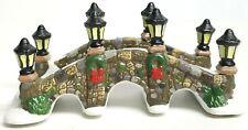 St Nicholas Square Christmas Village Accessories Stone Bridge Wreath Snow
