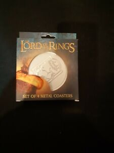 Lord of the Rings LOTR Official Silver Metal Coasters 4 Pack NEW BOXED FANATTIK