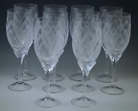 ROSENTHAL CRYSTAL IRIS FROSTED, ETCHED set of 10 TULIP WINE GOBLETS MODERN