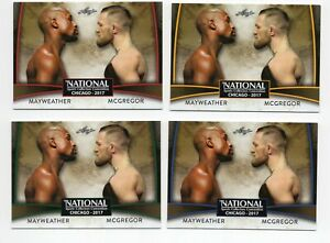 (4) 2017 Leaf VIP Floyd Mayweather vs. Conor McGregor GOLD BLUE GREEN RED LOT