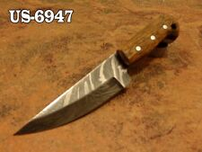 "4.1""CUSTOM  DAMASCUS STEEL MINI SKINNER NECK KNIFE,ROSE WOOD HANDLE US-6947"
