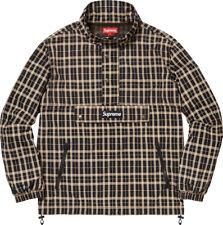 Supreme Nylon Plaid Pullover Jacket Half Zip Kangaroo Pocket Box Logo L Tan