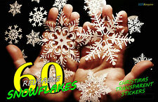 60 Christmas Snowflakes Stickers Reusable Window Decorations Removable Xmas Gift