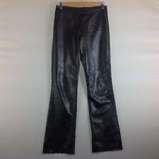 Margaret Godfrey Black Leather Pants Women 4 Straight